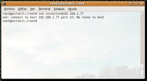 Error al acceder mediante ssh