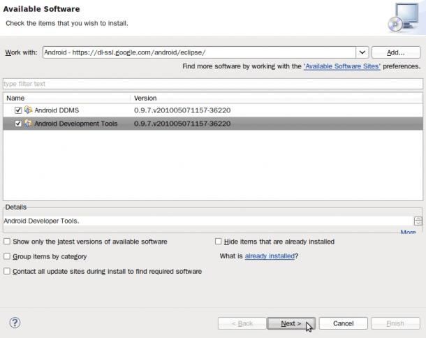 Eclipse - Seleccionar repositorio Android