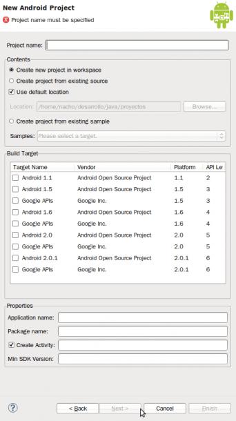 Eclipse - Seleccionar plataforma Android