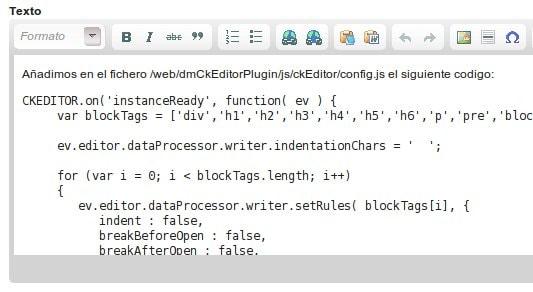 dmCkEditorPlugin - Evitar tabulación en párrafos