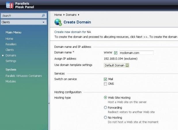 Panel de control Plesk - Modificación de la configuración de un sitio web