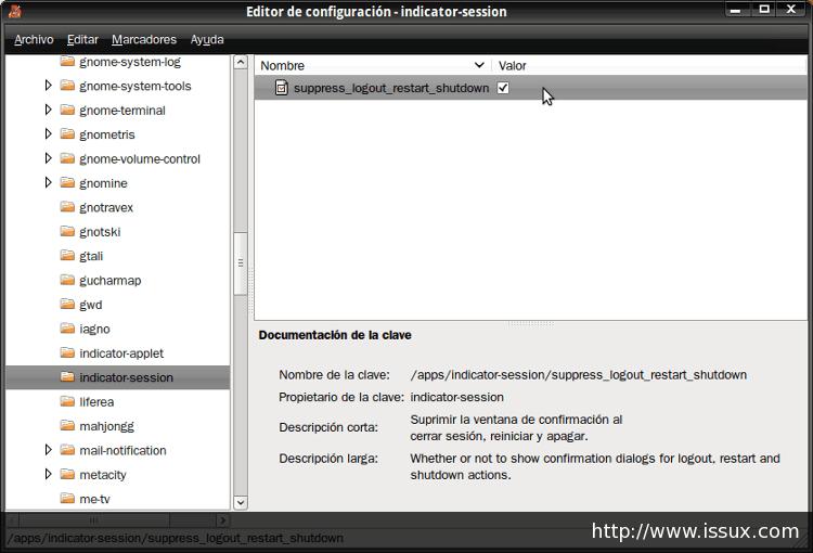 Pantallazo Editor de configuración indicator session