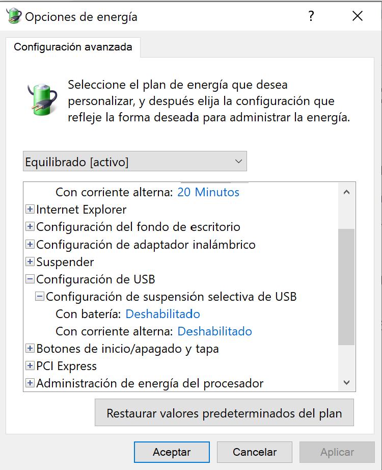 Windows 10 - Gestión de energía, suspensión de usb